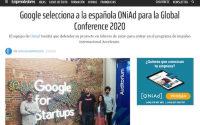 Google selecciona a ONiAd como una de las mejores startups internacionales