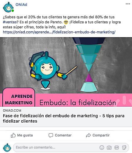 clicbait: ejemplo de publicacion en facebook
