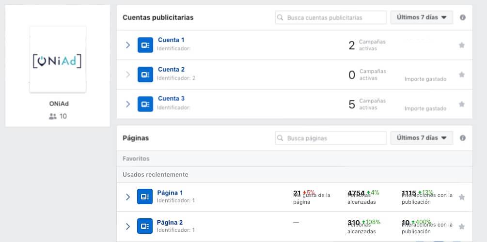 gestionar varias cuentas de facebook con business manager